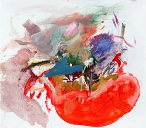 """Campagne Finlandaise enneigée II"". Acrylic on canvas, 90 x 80 cm."