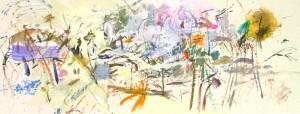 """""""Campagne Finlandaise enneigée"""". Acrylic on canvas, 160 x 360 cm."""