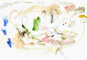 Sery «Toscany», 2007, mixed media on paper 40 x 24 cm.
