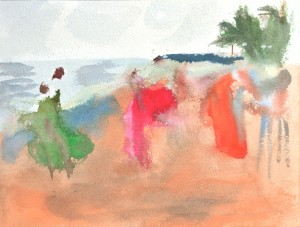 "Series ""Beach road"", 2017, acrylic on A4 paper"