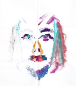 Self-portrait on folded canvas